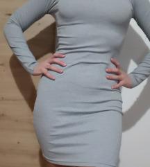 Uska siva haljina pamučna