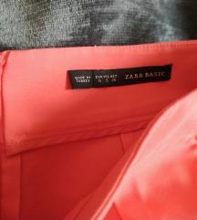 Zara koraljno narančasta suknja s džepovima