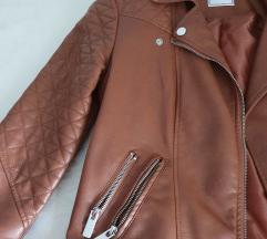 Smeđa kozna jakna