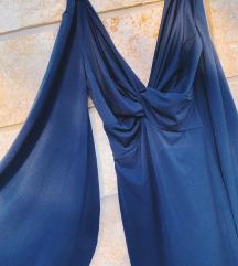 Plava haljina zvono rukava - kao novo