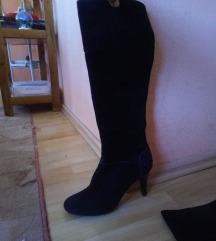 Crne čizme od brušene kože s visokom petom TOD'S