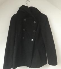 Zara crni kaput jakna sa kapuljačom 38