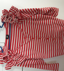 H&M blogerska vesta crveno bijela s volanima