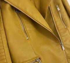 Senf/žuta kožna (umjetna) jaketa vel.M