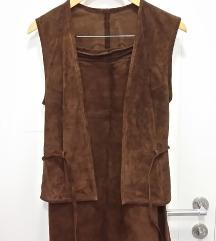 Vintage dvodijelni kožni komplet suknja/prsluk
