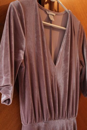 Midi plišana velvet haljina