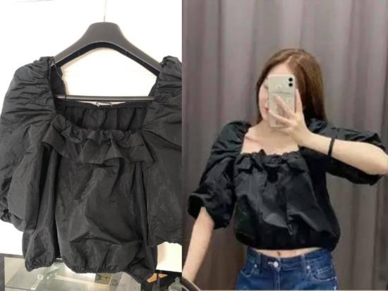 Zara puf crna bluza S