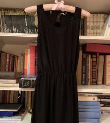 H&M crna maxi duga haljina s otvorenim leđima