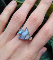 Srebrni prsten riba sa sedefom, 925