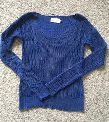 Plavi lagani pleteni pulover vel S/M