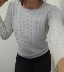 H&M prljavo bijeli pleteni džemper