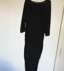HM rouched bodycon crna haljina
