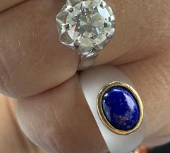 Prsten od kristala s lapisom u zlatu