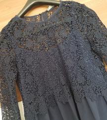 Tamno plava Zara haljina od cipke, velicina S