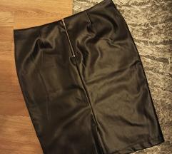REZERVIRANO Crna kožna suknja sa zipom