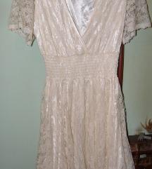 bež haljina od čipke