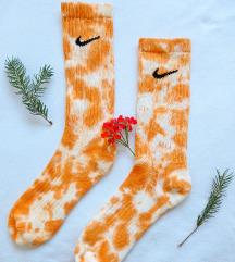 Nike narančaste čarape ručno bojane tie dye