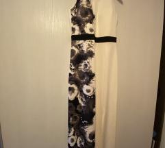 Duga svečana prljavo bijela haljina s cvijetovima