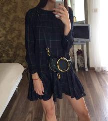 Zara tamnoplava karirana haljina