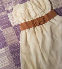 Svijetlo bež / krem haljina s remenom