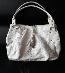 Prava koža,  bijela torba