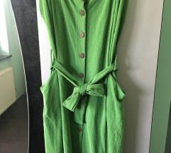 Zelena ljetna haljina na gumbe