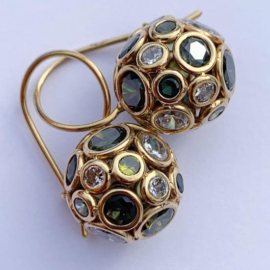 Zlatne nausnice s poludragim kamenjem