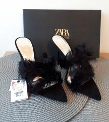 Zara blue collection kožne s perjem