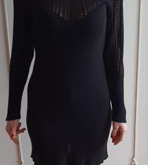 Crna knit zimska haljina 36 viskoza