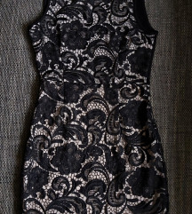 Crna / krem haljina s motivima čipke