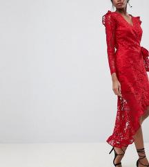 NOVO Asos design crvena cipkasta haljina