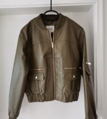 Zelena bomber kožna jakna