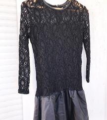 ZARA crna čipkana haljina / koža