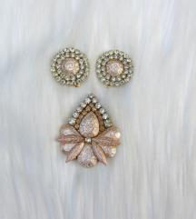 Rose gold komplet - prsten i naušnice