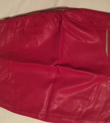 Crvena kožna suknja ZARA
