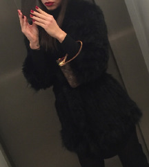 Prekrasna crna krznena bunda vel s/m sniženooo!!!