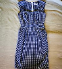 Karirana midi haljina s džepovima