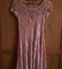 Takko čipkasta puder roza haljina (XS-S)