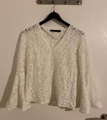 ZARA bijela čipkasta bluza