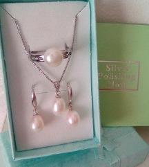 Set srebrnog nakita, pravi riječni biseri