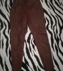 Bordo/čokolada kožne hlače