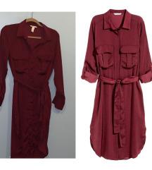 H&M bordo svilena košulja haljina