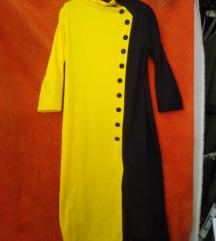 NOVA crno žuta haljina ispod koljena