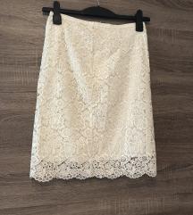 H&M bijela poslovna čipkasta suknja