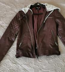 Bordo kožna jakna s kapuljacom