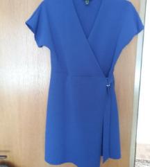 Plava haljina s preklopom