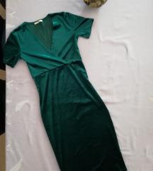 Smaragdna barsunasta haljina ukljucena pt