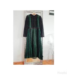Self portrait midi zelena cipkasta haljina