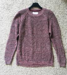 Bordo pleteni pulover vel S