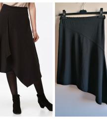 Cool asimetrična suknja crna s volanima A kroj